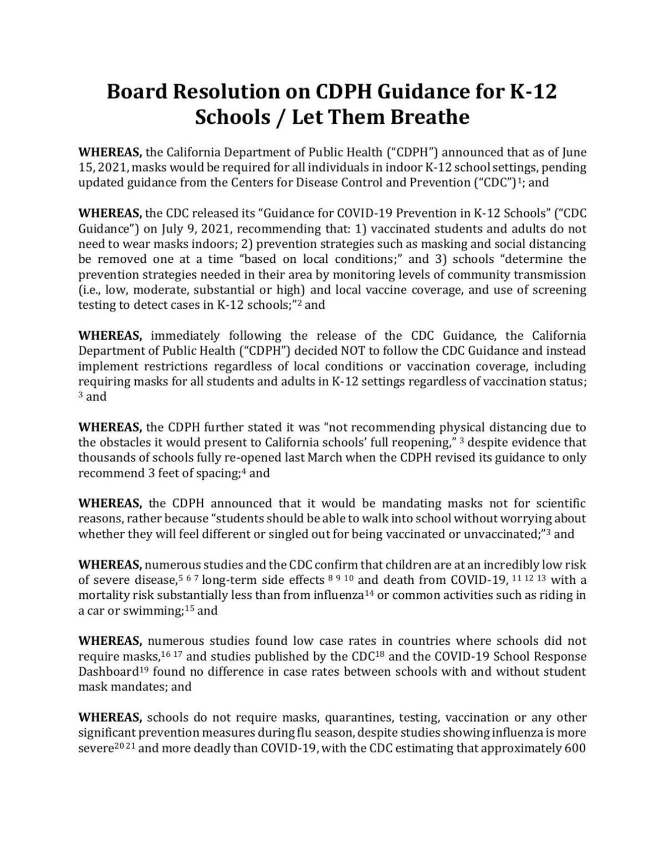 Board Resolution on CDPH Guidance for K-12 Schools