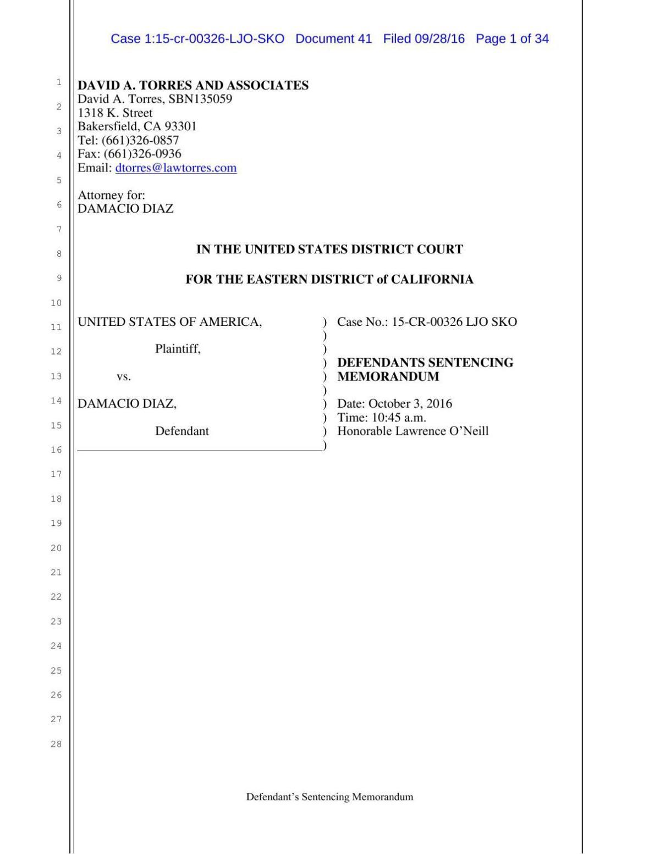 Damacio Diaz's sentencing statement