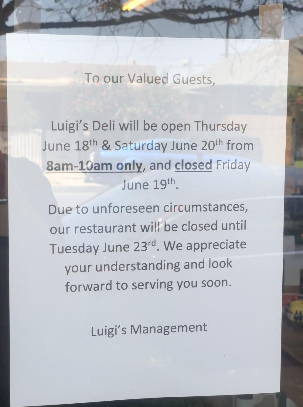 Luigi's closed sign