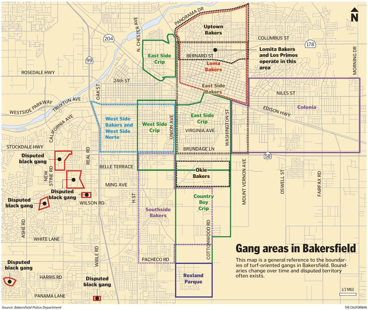 MAP: Gang areas in Bakersfield | | bakersfield.com Santa Ana Street Gangs Maps on baldwin village los angeles map, city of santa ana map, lapd gang injunction map, santa ana el salvador map, oakland crime map, monterey park ca map, city of houston ward map, east la gang territory map, highland park ca map, orange county zip code map, ca santa ana ward map, san antonio crime map, pomona california map, chicago gang turf map, oakland gangs territory map, main place mall aerial map, gangs in california map,
