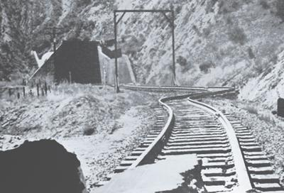 Railroad tunnels and tracks were heavily damaged by the 1952 earthquake.