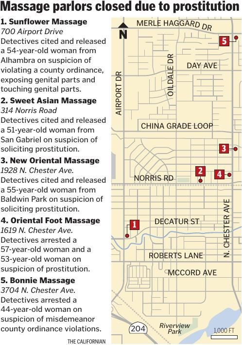 MAP: Massage parlors closed due to prostitution