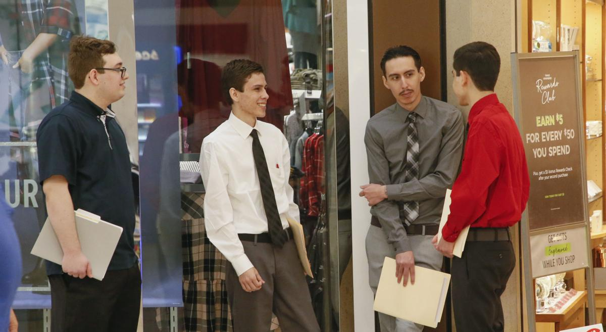 Job-seekers at Valley Plaza mall