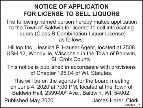 Town of Baldwin Lic to Sell Liquors-Hilltop