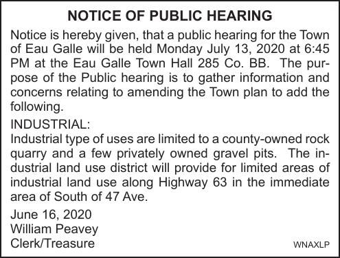 Town of Eau Galle Hearing 7.13.2020
