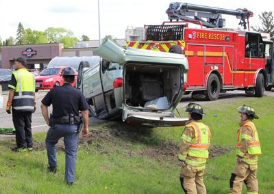Rollover accident outside of Nilssen's