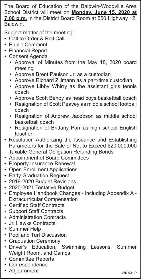 Baldwin-Woodville Area School District BofE June 15, 2020