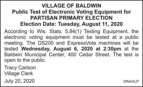 Village of Baldwin Partisan Pub Elec 8-11-2020