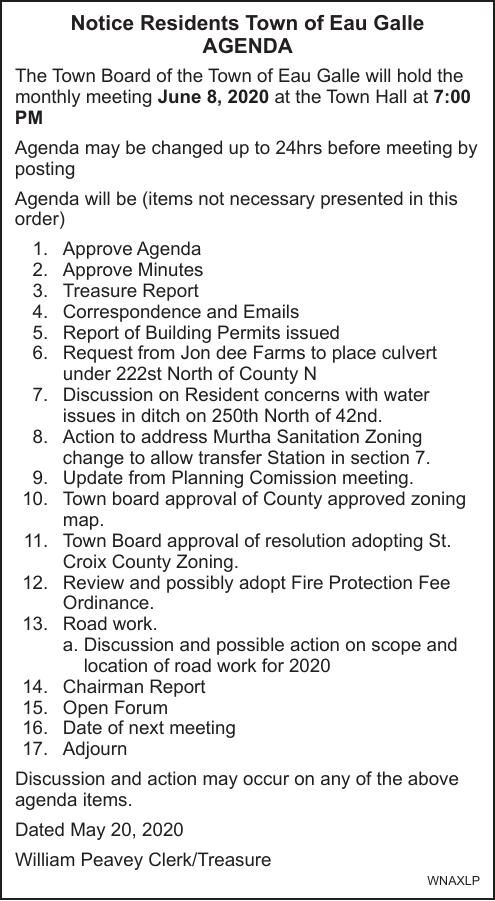 Town of Eau Galle Agenda 6.8.2020