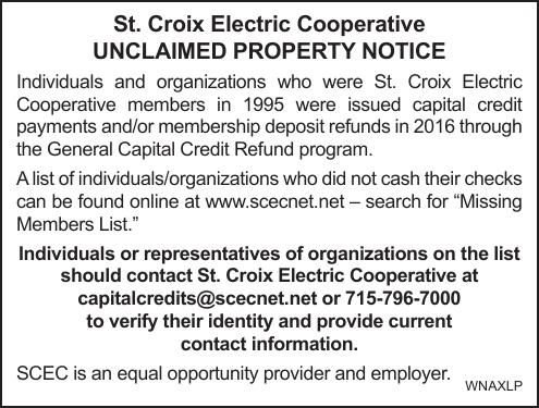 St. Croix Electric Cooperative UNCLAIMED PROPERTY NOTICE