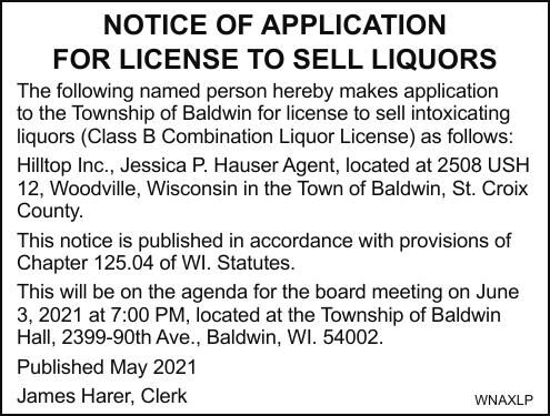 NOTICE OF APPLICATION FOR LICENSE TO SELL LIQUORS
