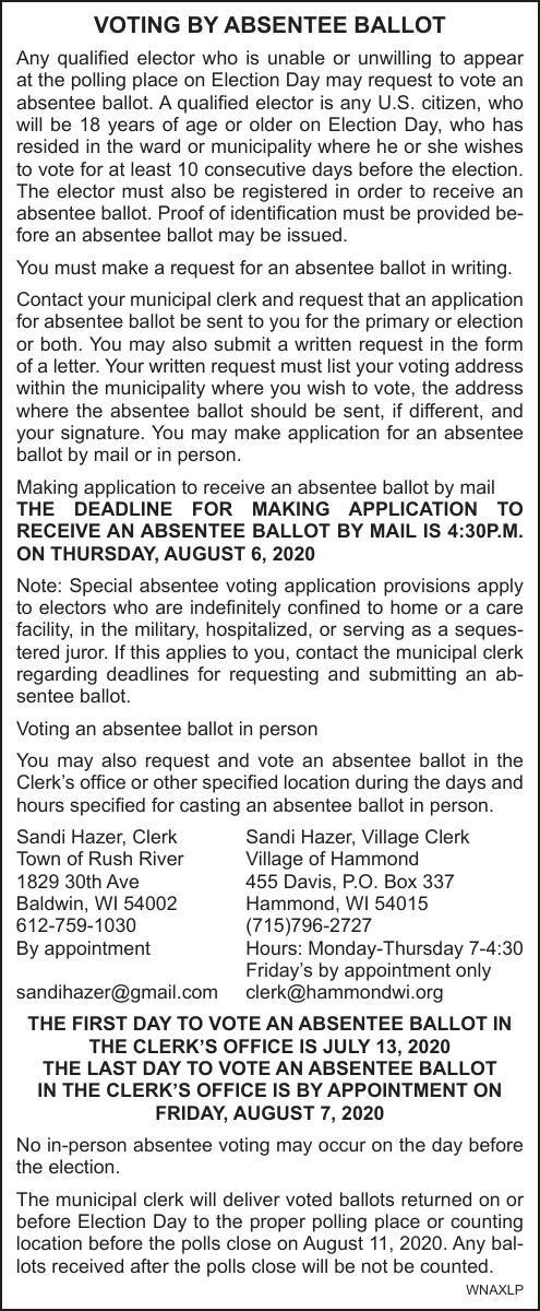 Vlg of Hammond/Town of Rush River Absentee Ballot Deadline 8-6-20
