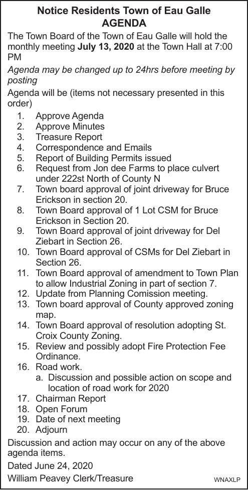 Town of Eau Galle Agenda 7.13.2020