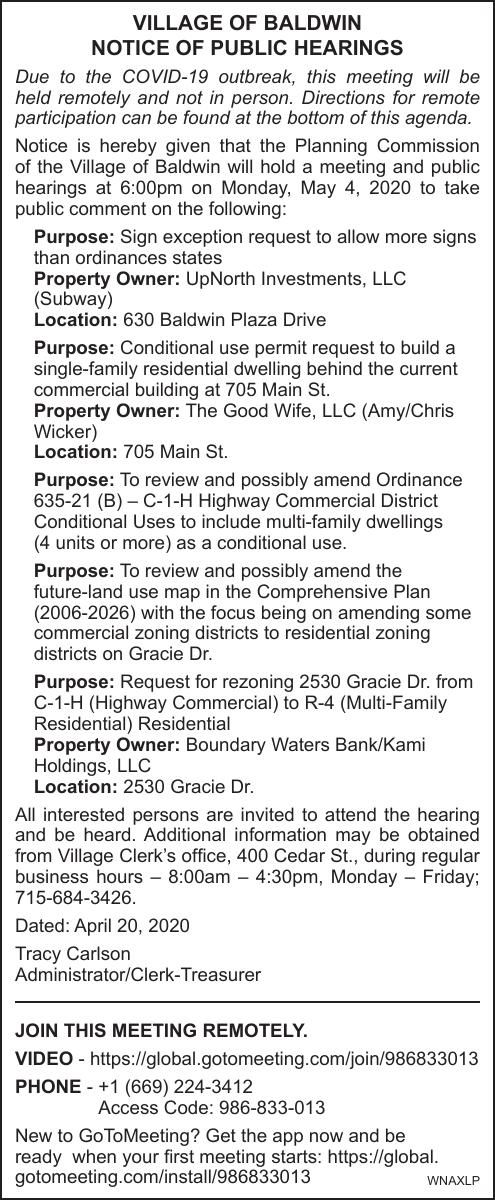 Village of Baldwin Public Hearings 5.4.2020