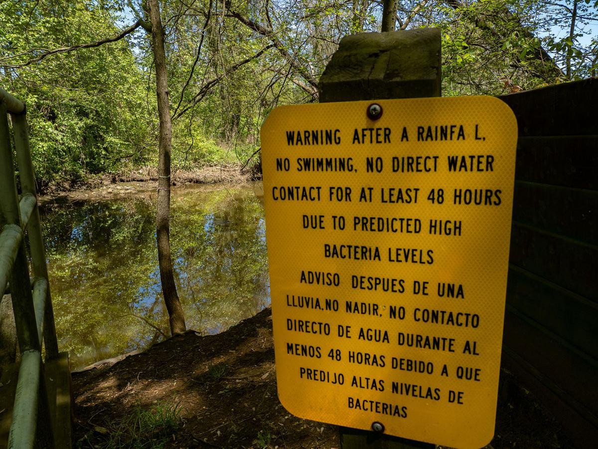 No swimming after rain sign