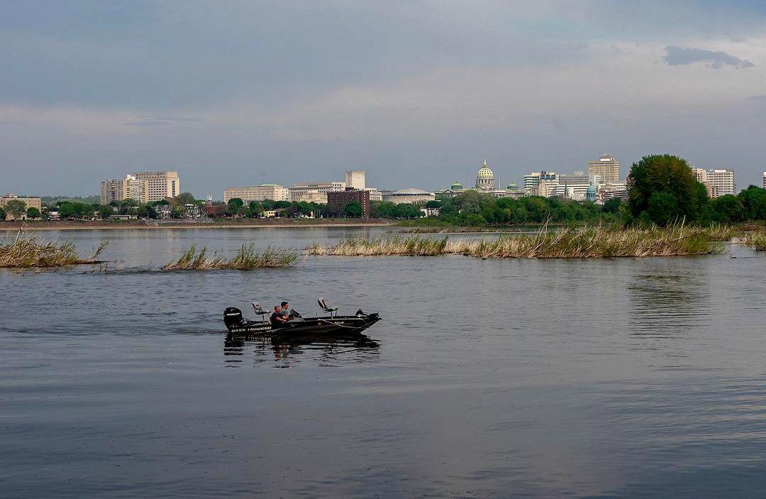 Boaters on Susquehanna shoreline at Harrisburg