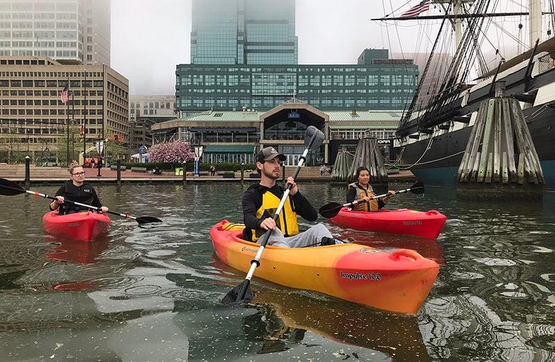 Group paddling on Baltimore Harbor