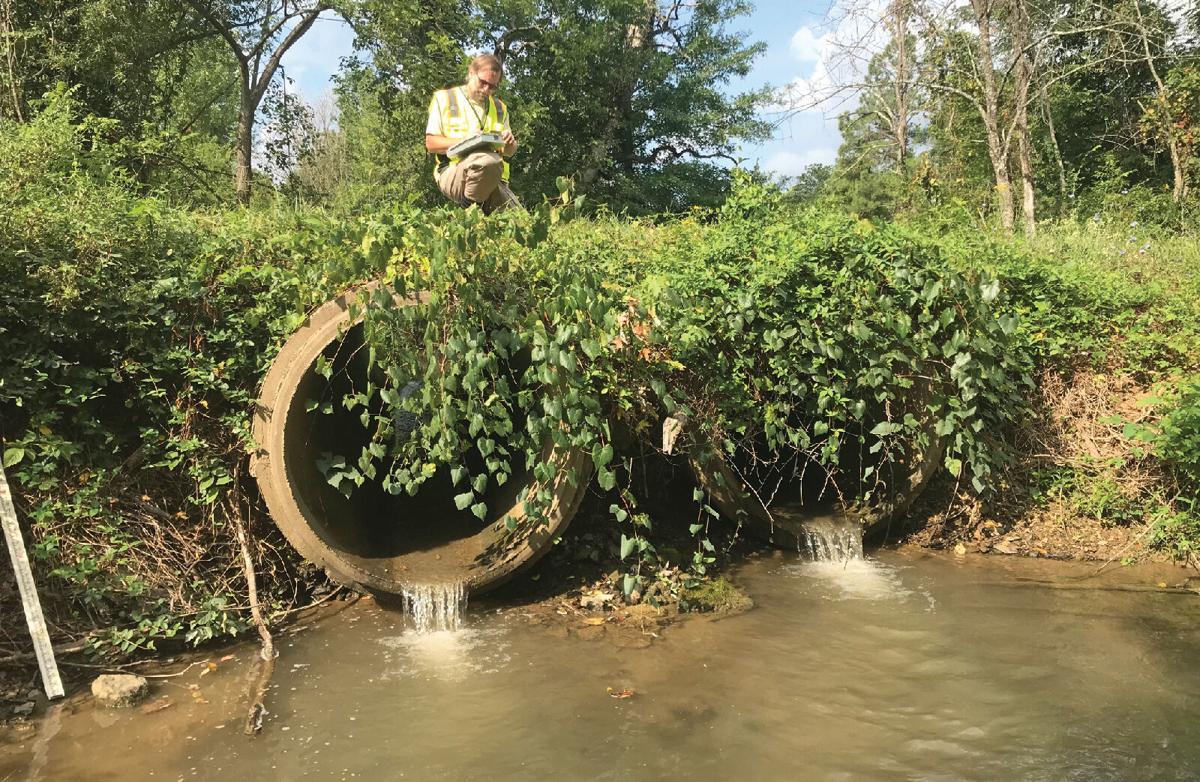 Stream culvert with erosion