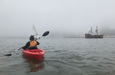 Paddling Baltimore Harbor in fog