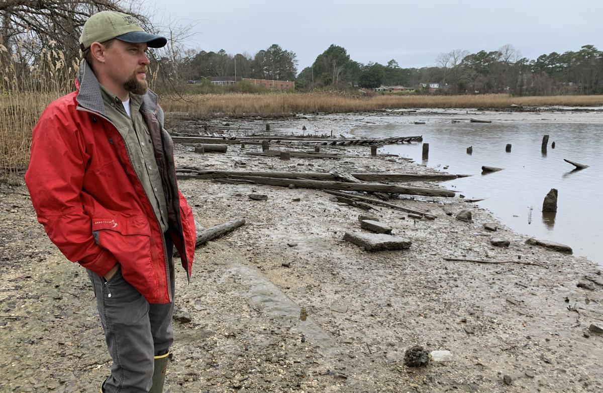 Archaeologist Brendan Burke at the Nansemond River ghost fleet