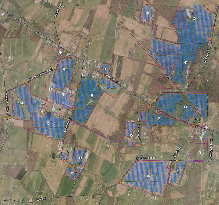 Map of proposed solar farm near Gettysburg, PA