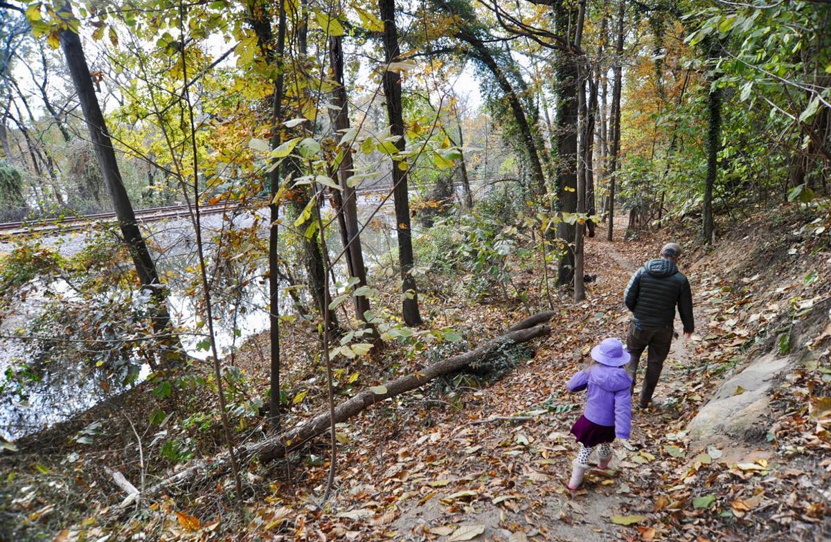 Hiking trail near the James River in Richmond