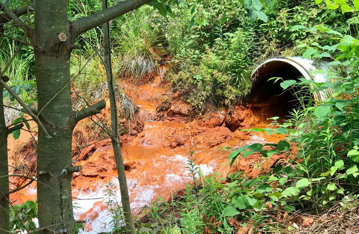 Acid mine drainage from pipe in PA