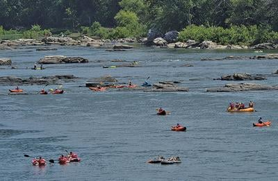 Kayakers and tubers on Potomac River