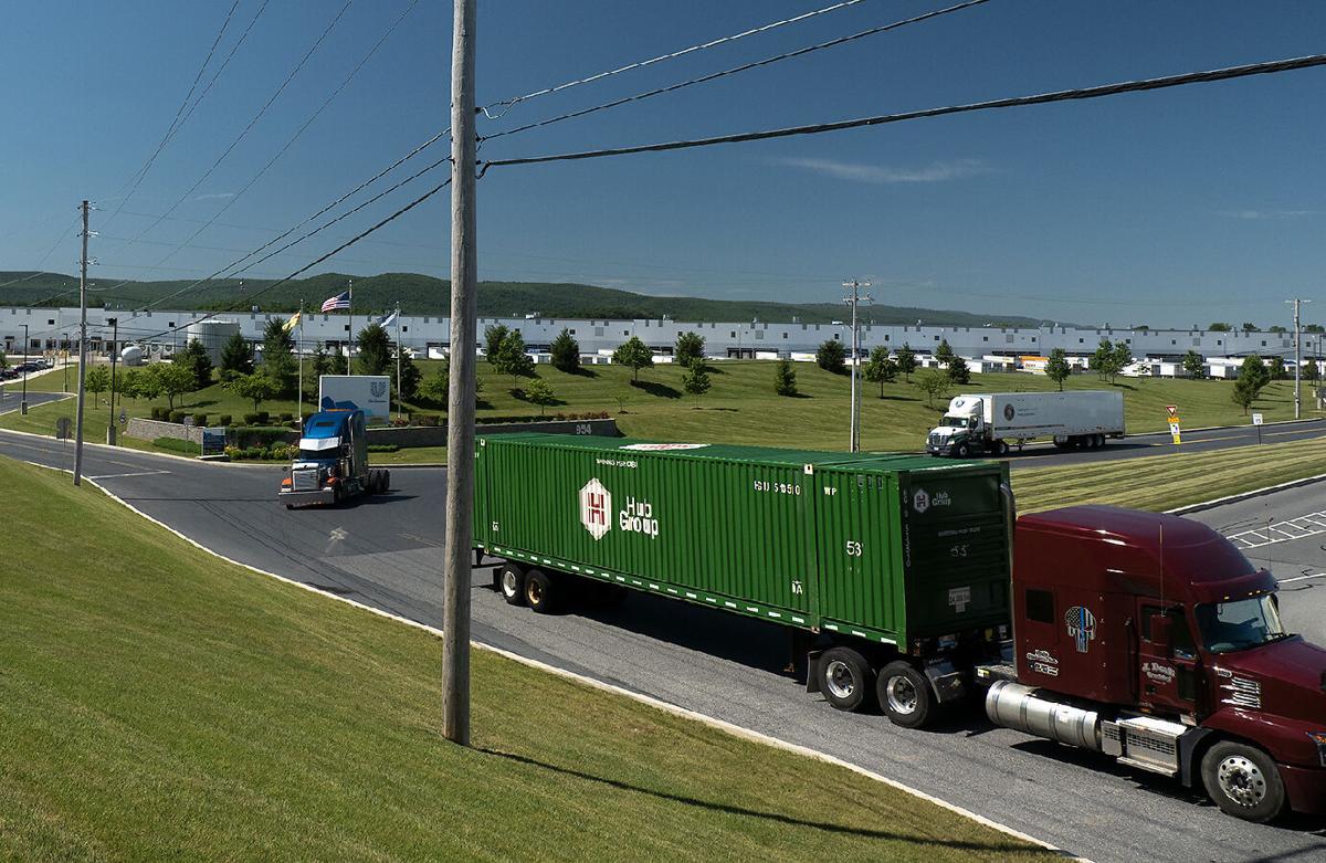 Trucks leaving PA warehouse