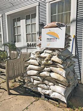 Sandbags in Ellicott City, MD
