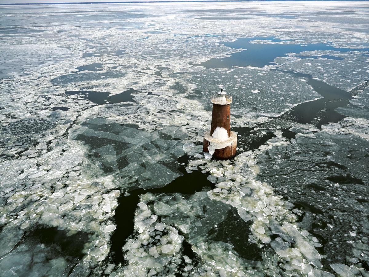 Bloody Point lighthouse in ice