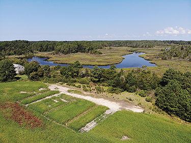 Saltwater intrusion on farmfields aerial