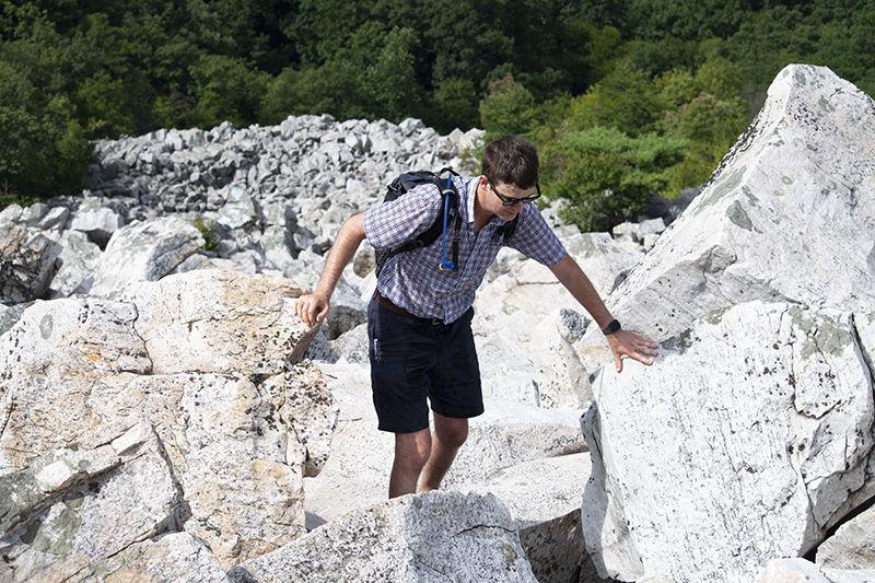 Devils Marbleyard hiker