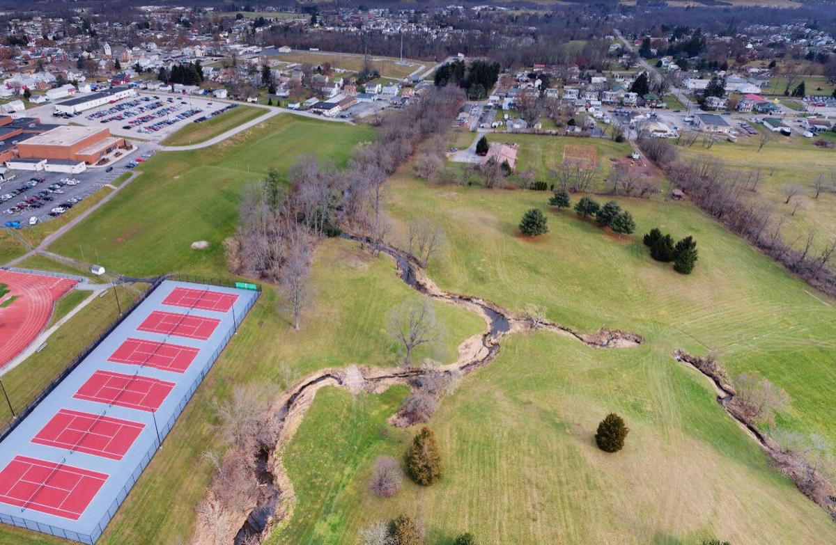 Stream restoration site aerial, PA