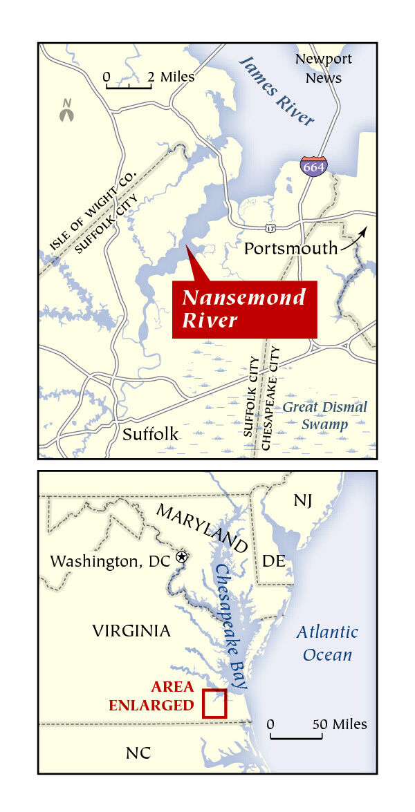 Map of Nansemond River, VA