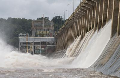 Conowingo Dam with sign