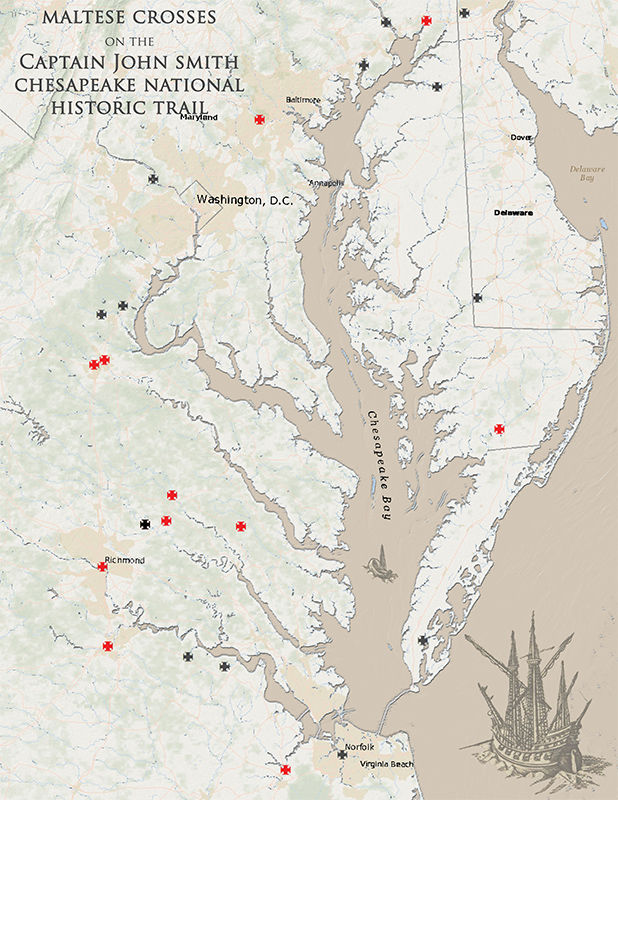 Cross markers show extent of John Smith's voyages