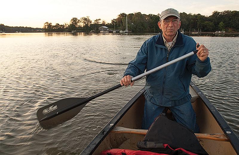 Wayne Gilchrest paddling on Turner's Creek