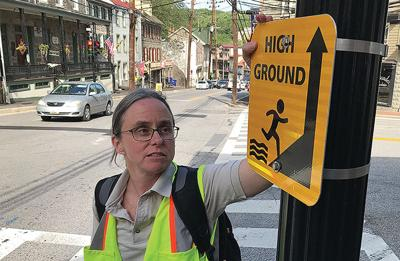 'High ground' sign in Ellicott City, MD