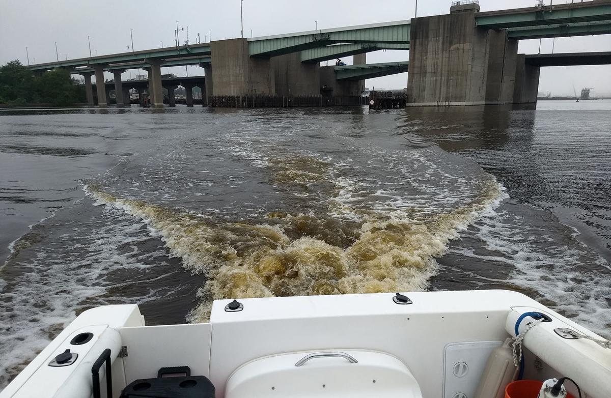 Mahogany tide in boat wake