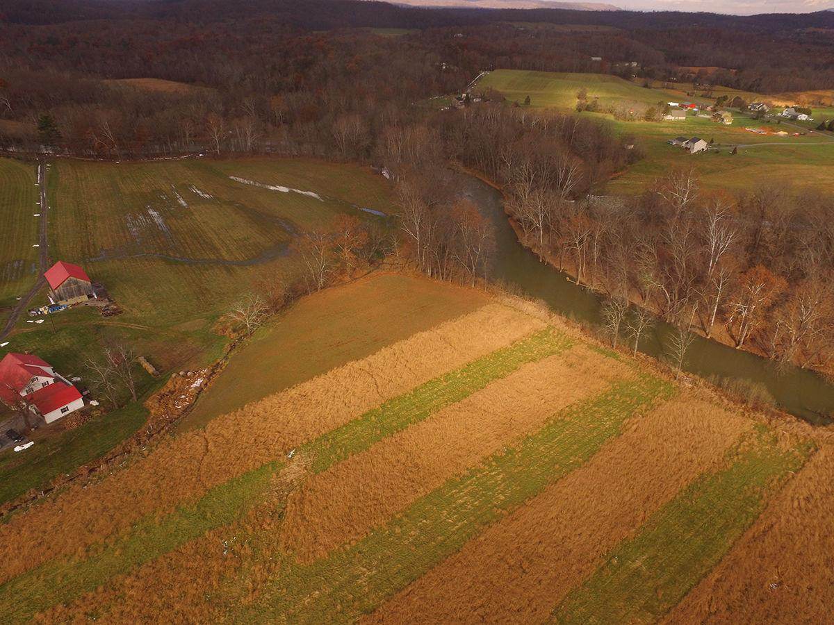 Aerial of conserved farmland in WV