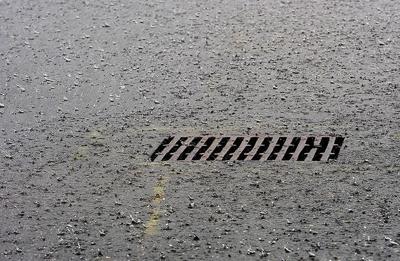 Stormdrain during rainfall