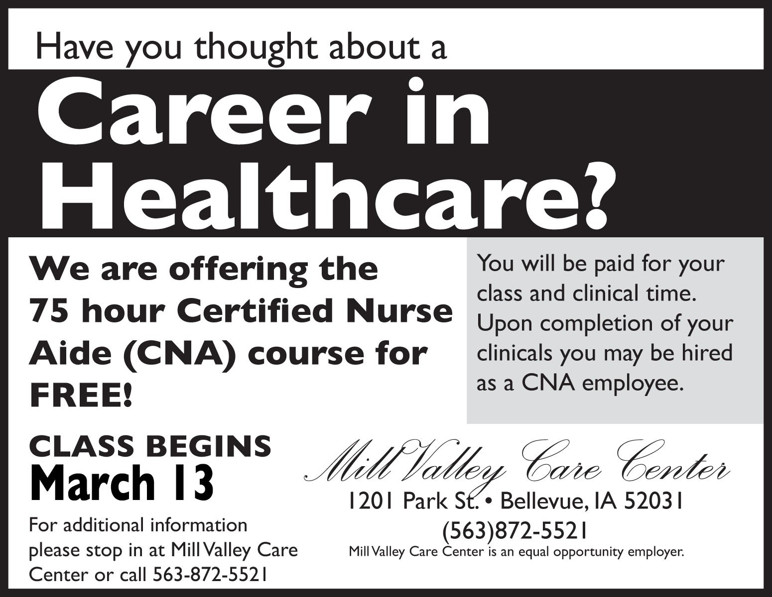 Have you thought about a Career in Healthcare?