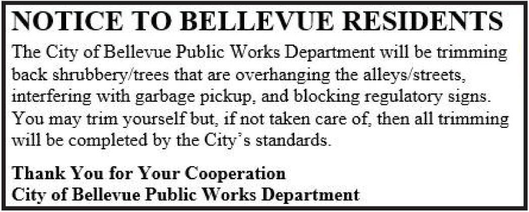 Notice to Bellevue Residents