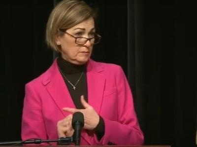 Gov. Kim Reynolds discusses COVID-19 vaccine allocation at a news conference Jan. 21at Iowa PBS. (Screen shot from Iowa PBS)