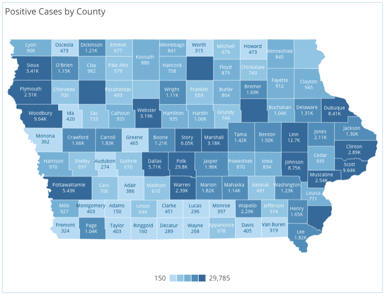 Iowa COVID-19 case information by county in Iowa reported Friday, Nov. 20, as of 10 a.m. by the Iowa Department of Public Health.