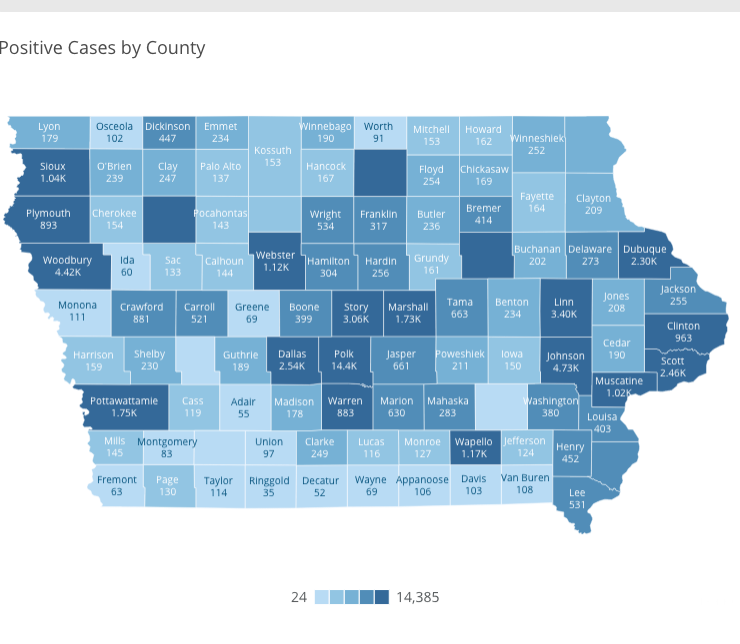 Iowa COVID-19 case information by county in Iowa reported Friday, Sept. 11, as of 10 a.m. by the Iowa Department of Public Health.