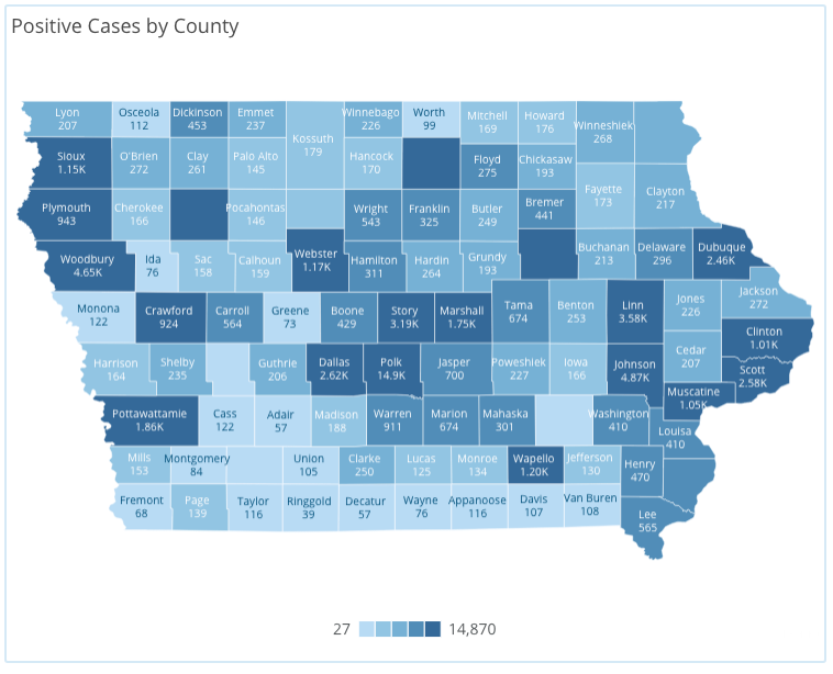Iowa COVID-19 case information by county in Iowa reported Wednesday, Sept. 16, as of 10 a.m. by the Iowa Department of Public Health.