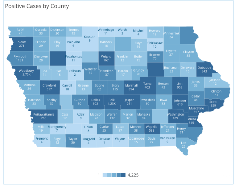 Iowa COVID-19 case information by county in Iowa reported Sunday, May 31, by the Iowa Department of Public Health.