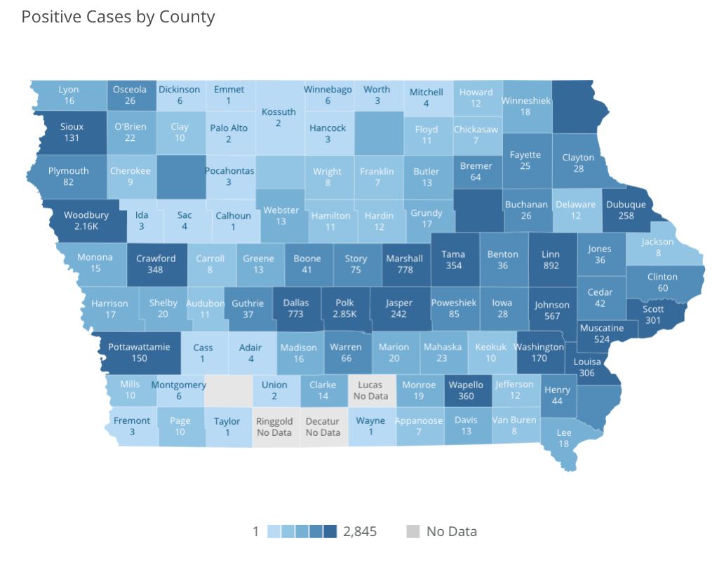 Iowa COVID-19 case information by county in Iowa reported Saturday, May 16, by the Iowa Department of Public Health.